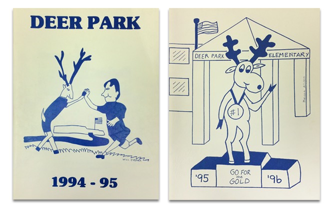 Photograph of the first two Deer Park Elementary School yearbooks from 1994-95, and 1995-96. The covers both feature student drawings of our mascot Bucky. On the 1994 cover, Bucky is high-fiving a student. On the 1995 cover, Bucky is standing in front of the new Deer Park School on a winner's platform wearing a medal that say number one, go for the gold.